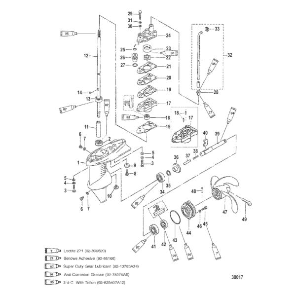 Корпус редуктора в сборе (SHIFTABLE ENGINES) 38017